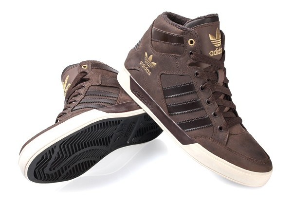 kids adidas hardcourt hi brown leather trainers with fur d67660 EVEVZZD