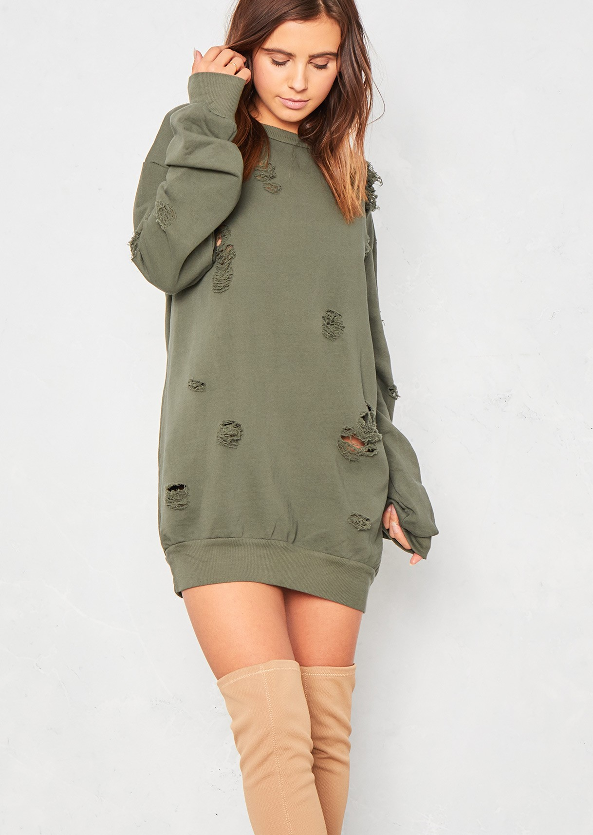 kimye khaki distressed jumper dress LSRXBAL