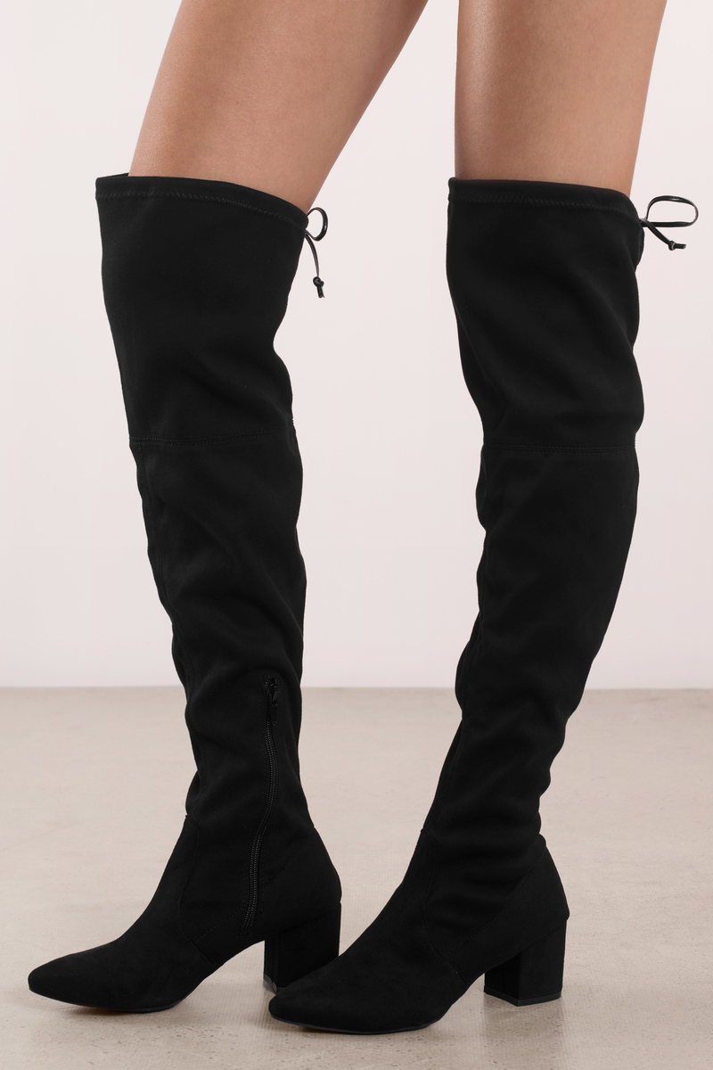 Knee high boot riley black faux suede knee high boots GNWUMQD
