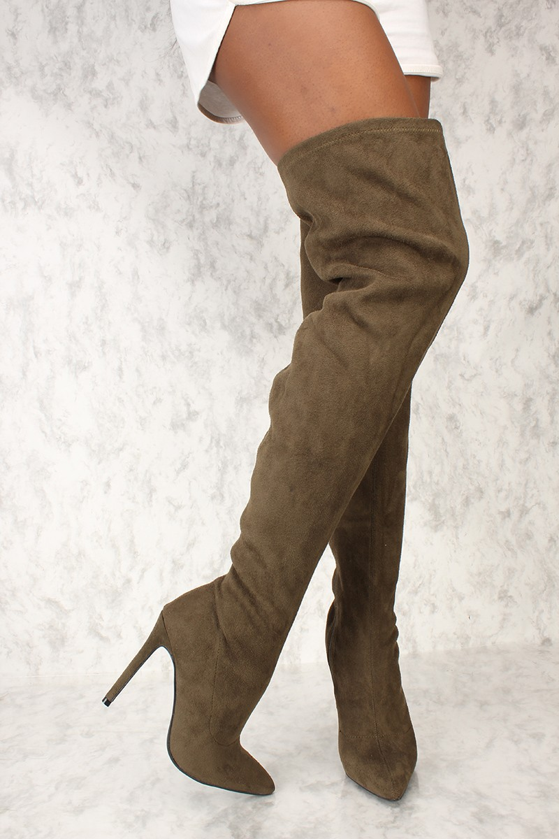 Knee high boot sexy olive green pointy toe thigh high boots faux suede *kylie inspired by* MNNUVJR