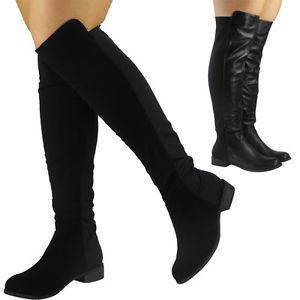 Knee high boot womens-ladies-suede-lycra-mid-calf-flat-knee- VVLGBMC