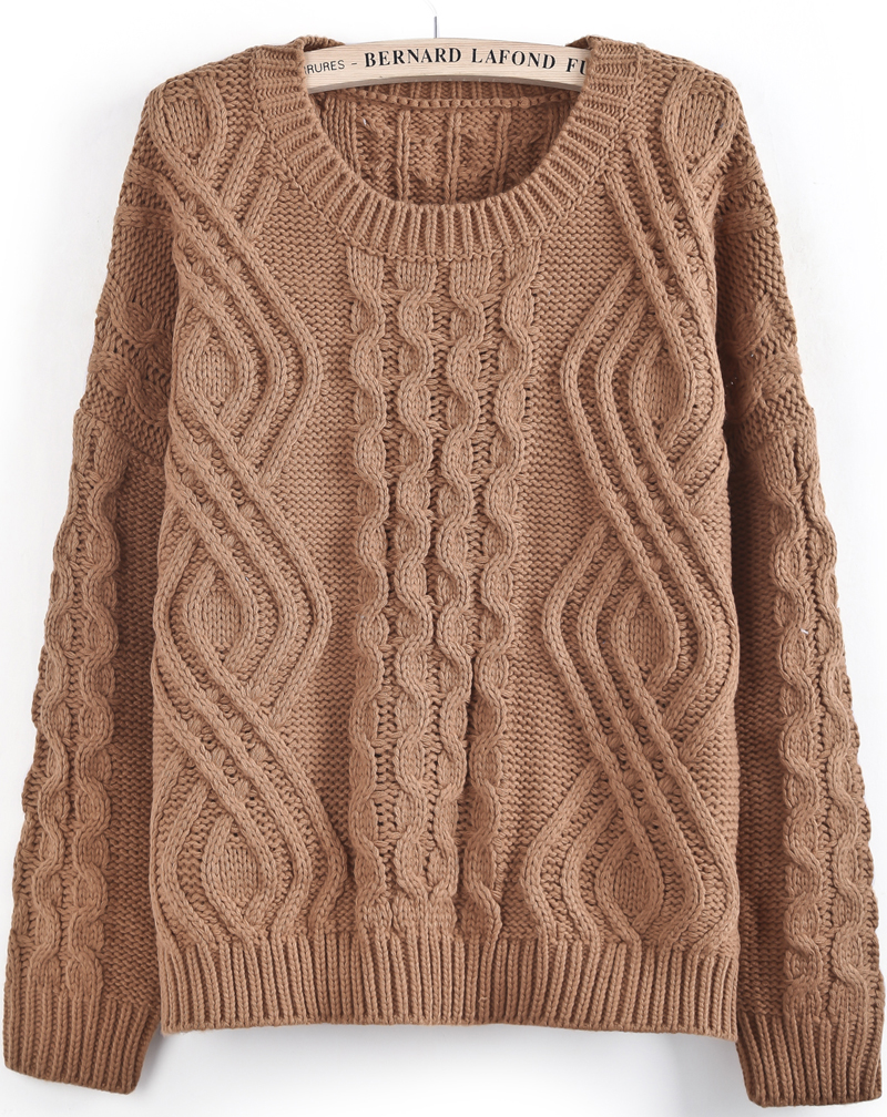 knit cable sweater khaki long sleeve geo pattern cable knit sweater -shein(sheinside) CYBIAVJ