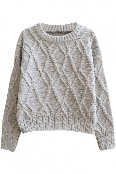 knit cable sweater plain geometrical pattern cable knitted thick crop sweater SQLSHXD