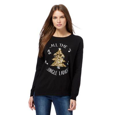 ladies Christmas jumpers the collection black u0027jingle ladiesu0027 slogan christmas jumper | debenhams ZWCMJTH