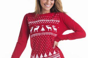 ladies Christmas jumpers ... women reindeer christmas jumper style longsleeve tshirt. red reindeer  long sleeve top JZTTGOZ