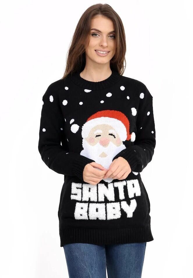 ladies Christmas jumpers womens santa baby christmas jumper ladies knitted top xmas sweater pull  over uk RMQBSAZ