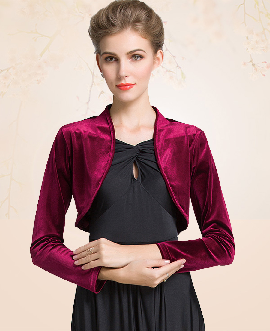 ladies cropped velvet long sleeve shrug womens bolero jacket cardigan  outwear top plus sizes VEZRZZO