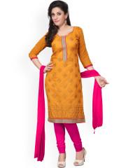 ladies dress silk bazar orange u0026 pink embroidered chanderi cotton unstitched dress  material OWOCMFK