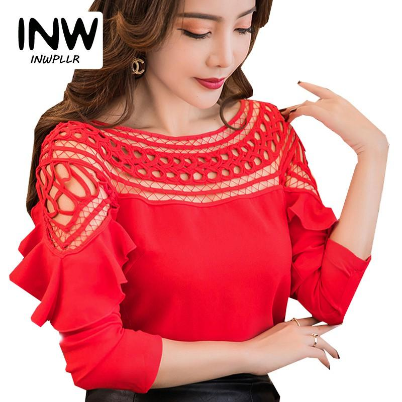 ladies tops koleshy-2018 new chiffon blouses shirts women spring ruffle long sleeve  ladies ... GGVHJIX