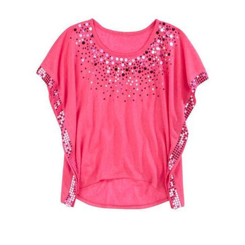 ladies tops round neck designer ladies top, pink VJMANDE