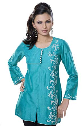 ladies tops sky blue women dress ladies top tunic top (xs) ELFUAGR