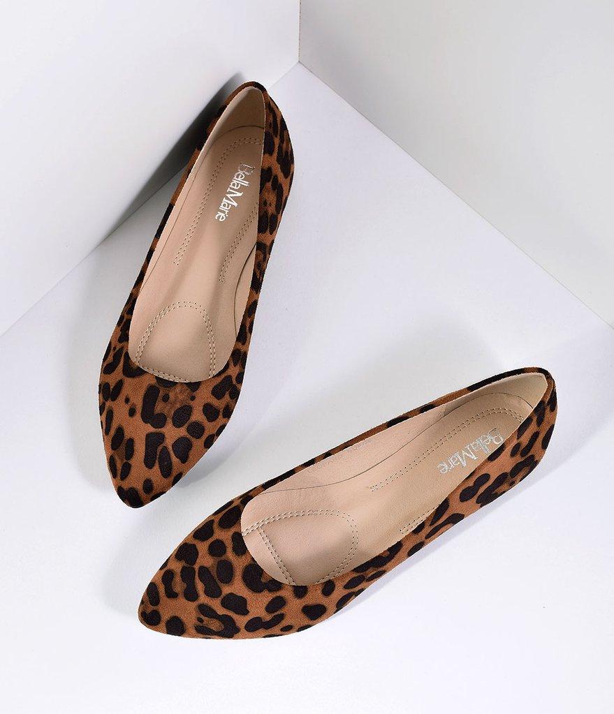 leopard print suede pointed toe flats ... KJNVUIA