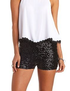 Little black sequin shorts high-waisted sequin shorts #charlotterusse #crfashionista #sequin #shorts VRVMTWP