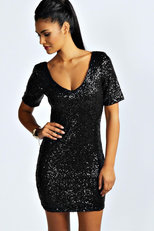 Little black sequin shorts hollie sequin short sleeve bodycon dress PWQRPKC
