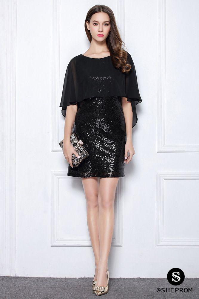 Little black sequin shorts little black sequins short cocktail party dress - $63 #dk378 - sheprom.com  | black MZMQDWC