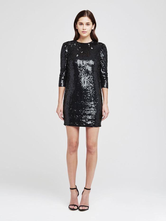 Little black sequin shorts sarah dress | stretch satin, black sequins and sequins JGDNCOF