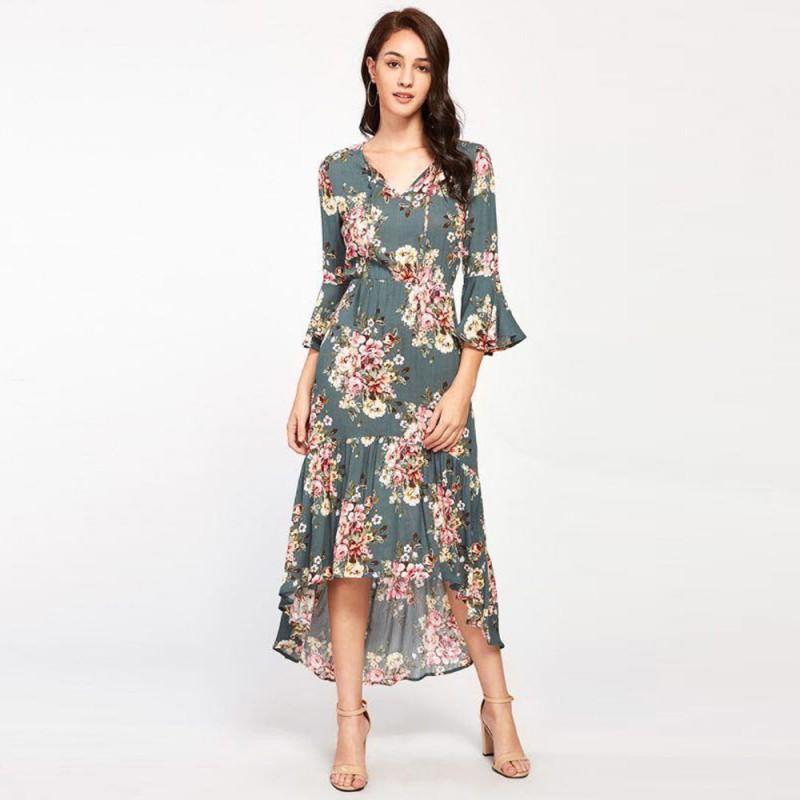 long back floral dress MNQLAZC