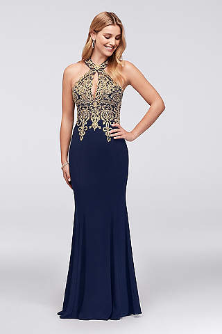 long sheath halter formal dresses dress - xscape LTRBRKD
