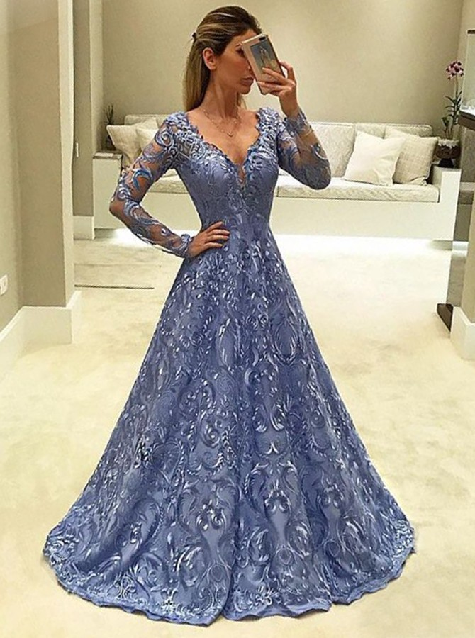 long sleeved prom dresses a-line v-neck long sleeves light sky blue lace prom dress HQOCMXM