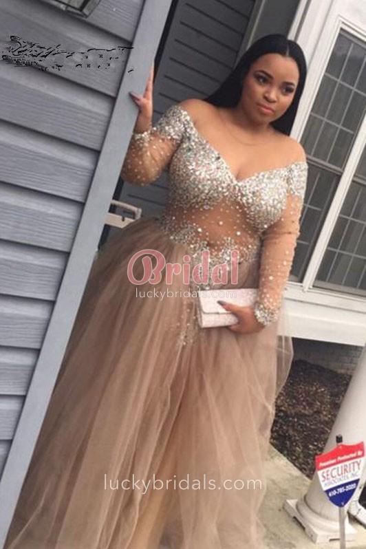 long sleeved prom dresses beaded off shoulder v neck long sleeve sheer champagne tulle prom dress 1 MVPIVHU