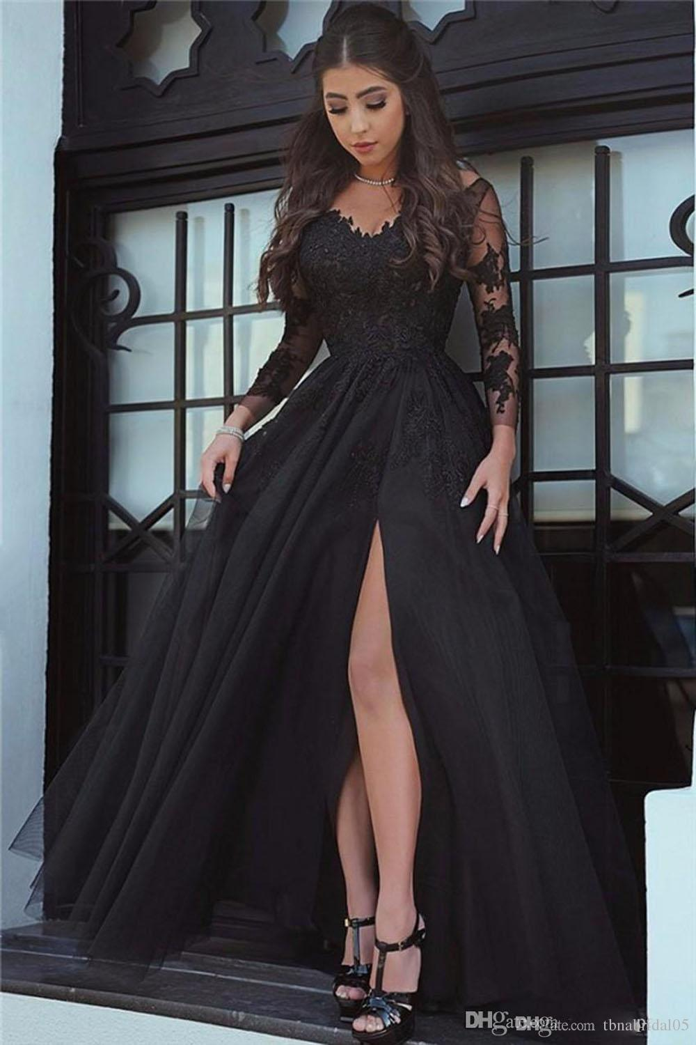 long sleeved prom dresses black long sleeve prom dresses appliques tulle open leg long formal prom  gowns robe NRVYEZO