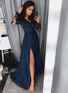long sleeved prom dresses blue long sleeve lace prom dress, blue long evening dress UVXCJSY