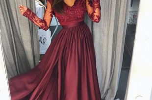 long sleeved prom dresses burgundy lace long prom dress, long sleeve prom dress RFYDOLW