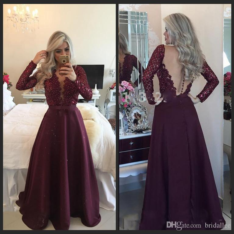 long sleeved prom dresses dazzling v neck long sleeve prom dresses 2016 sexy see through back pearls  beaded AOLWJBO