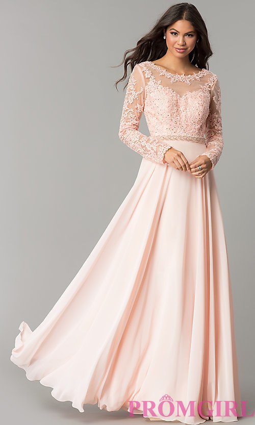 long sleeved prom dresses image of long embroidered bateau-neck prom dress with sleeves. style: cd- MFRLIGG