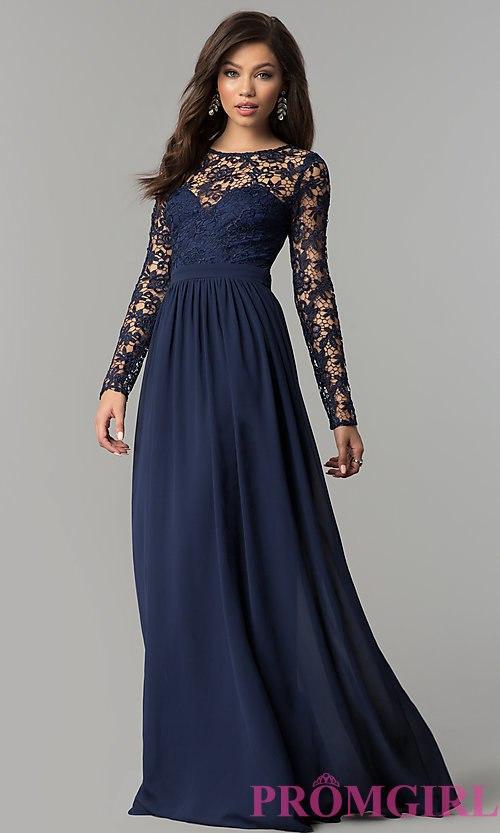 long sleeved prom dresses lace-bodice long-sleeve corset-back prom dress style: lp-25065 OHBJAOF