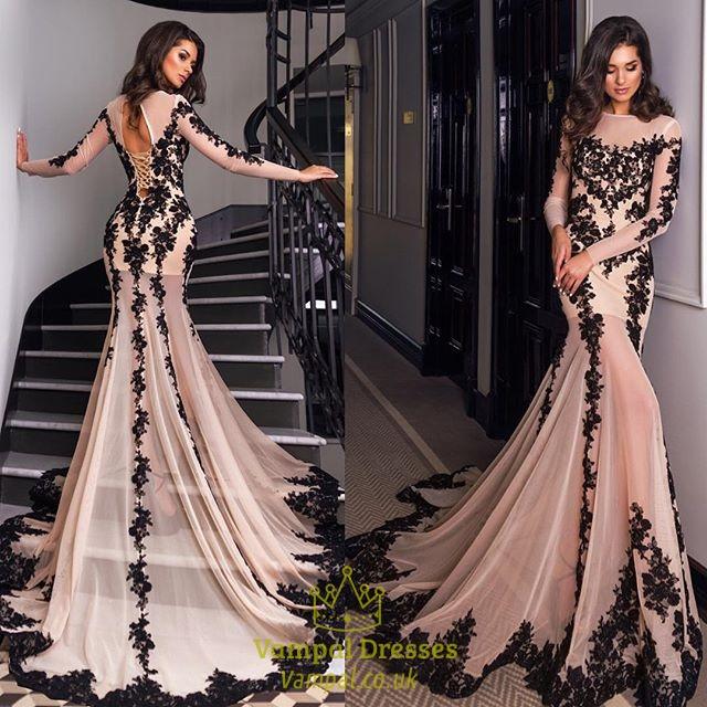 long sleeved prom dresses luxury long sleeve embellished lace overlay prom dress with train VHSALIU