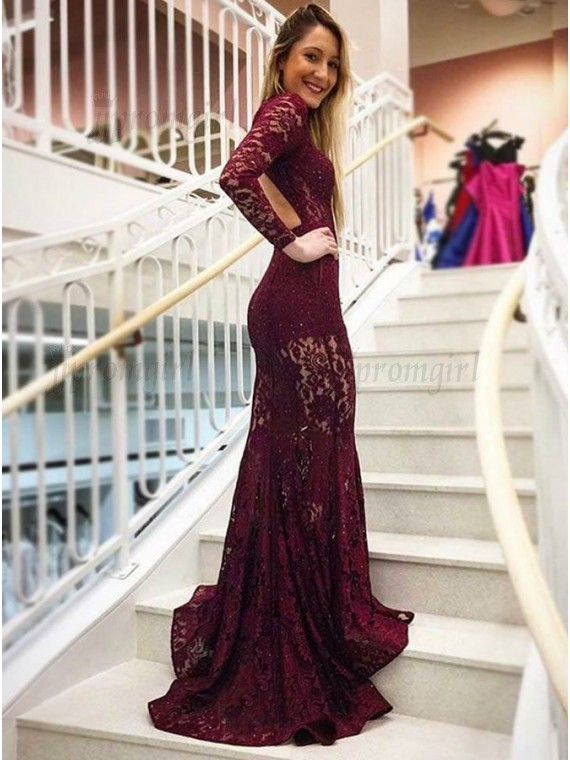 long sleeved prom dresses mermaid high neck backless long sleeves burgundy lace prom dress with  pockets FMXSNZY
