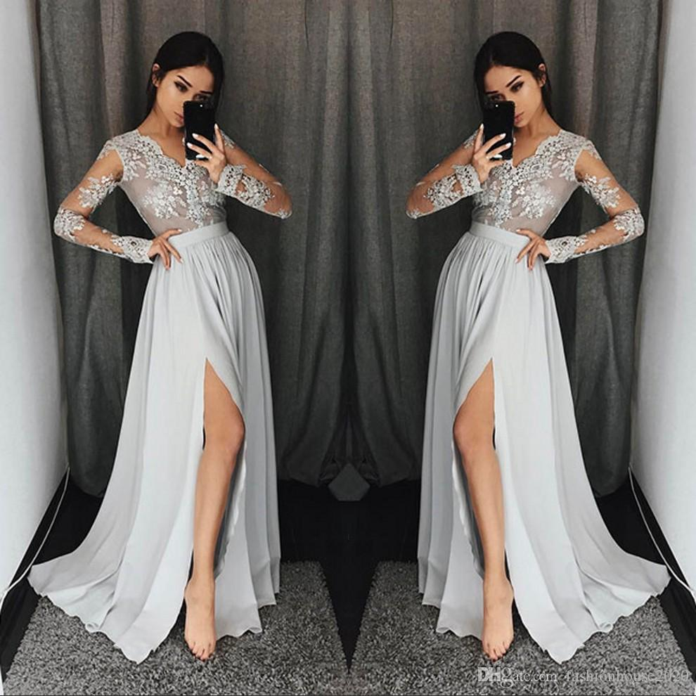 long sleeved prom dresses silver grey long sleeve prom dresses long v neck appliques lace formal  party gowns MECUCZL