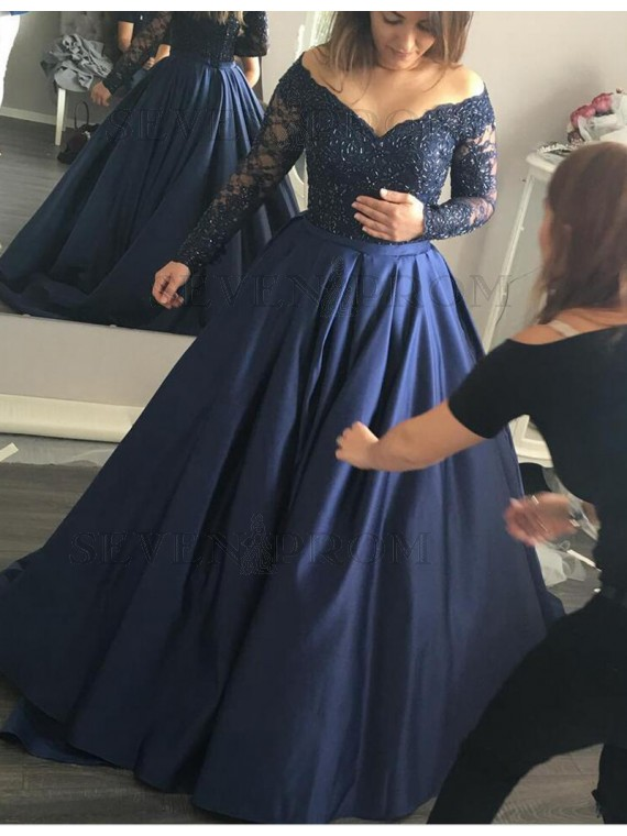 long sleeved prom dresses stylish navy blue off the shoulder long sleeves beading long prom dress VTRSQLI