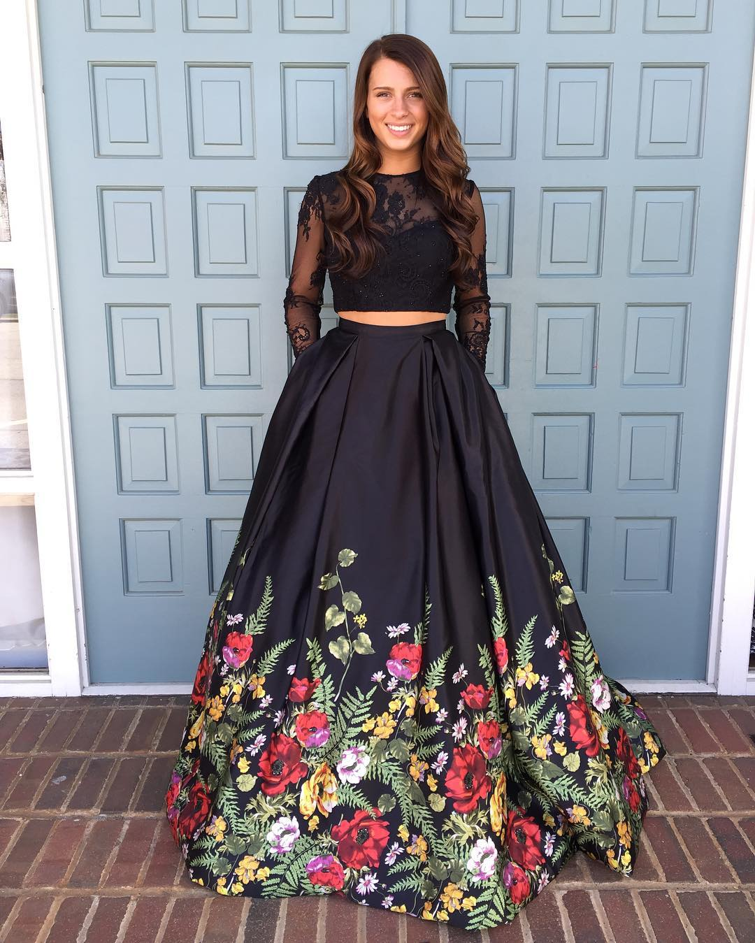 long sleeved prom dresses two piece prom dress,black floral long prom dress, long sleeves prom dress YEWUTDB