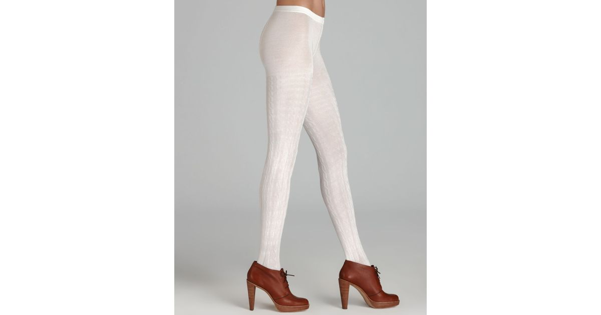 lyst - hue cable sweater tights in white EPRLZLM
