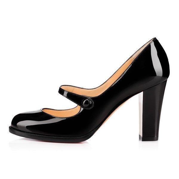Mary Jane pumps ... black mary jane pumps patent leather block heel vintage shoes image 3  ... BTNASAC