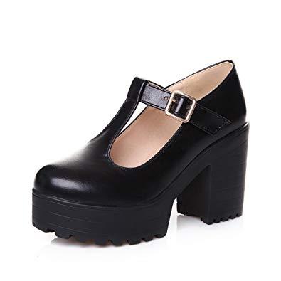 Mary Jane pumps milesline fashion womenu0027s round toe platform shoes t-strap chunky heel mary  jane pumps OAGQVIE