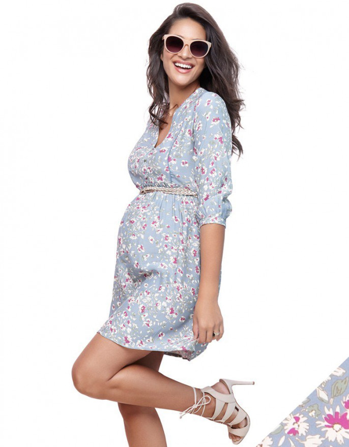 maternity wear sky blue floral woven maternity dress EICJPXP