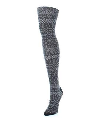 memoi fairisle frost sweater tights black mf4 103 small/medium UZLKJMK