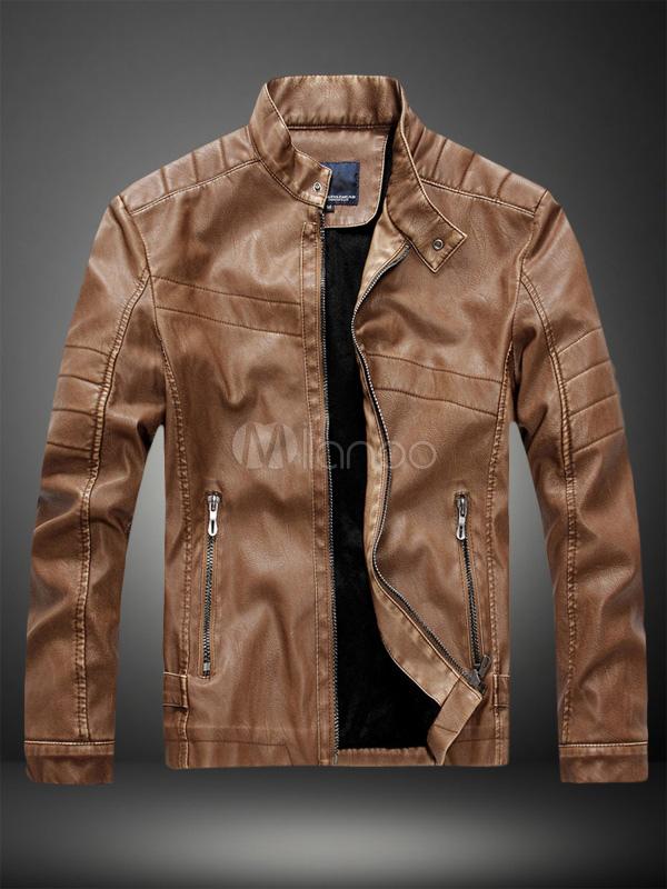Men Jacket brown leather jacket men jacket stand collar long sleeve zip up motorcycle  jacket-no. KPYIAMX