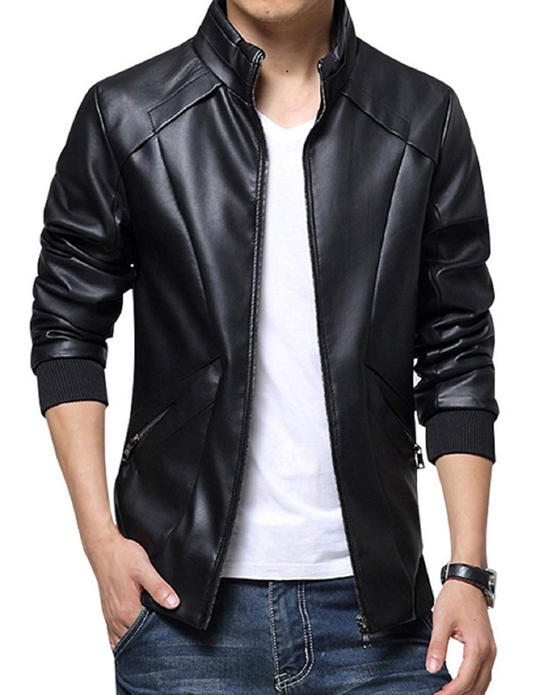 Men Jacket kiwen menu0027s stand up collar faux leather jacket slim fit at amazon menu0027s  clothing THRYZIE