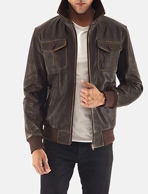Men Jacket mens aaron brown leather bomber jacket MURZNRV