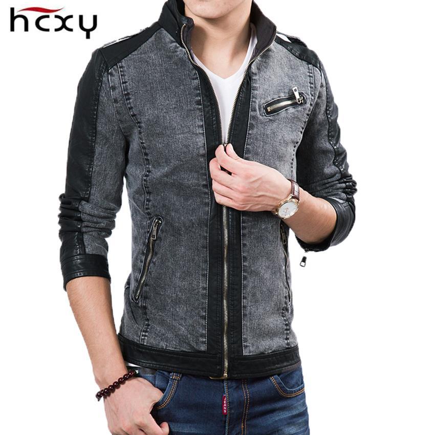 Men Jacket wholesale 2017 new design mens denim jacket winteru0026autumn stitching leather  jacket for male fashion DMOKSRV