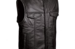 menu0027s club motorcycle black leather vest ZRFJGEO