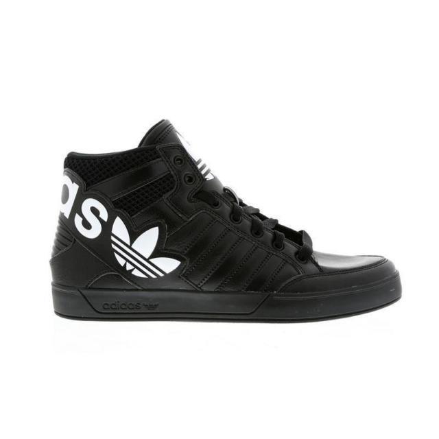 mens adidas hardcourt hi big logo black leather trainers aq2865 CSAGJOM