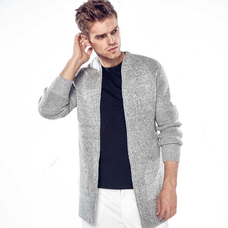 Mens cardigan long trench coat men mens cardigan high quality men fashion casual designer  sweaters grey KBGPCHQ