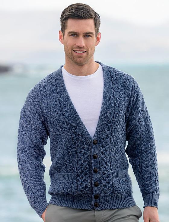 Mens cardigan merino wool aran menu0027s v-neck cardigan - denim GCBRHPF