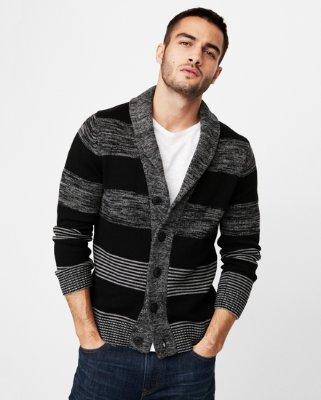 Mens cardigan mix stripe shawl collar cardigan | express DFCWLVM