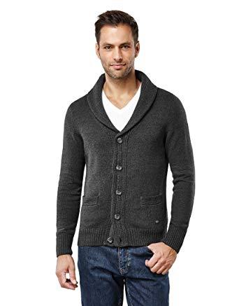 Mens cardigan vincenzo boretti menu0027s cardigan chunky knit shawl collar slim-f anthracite  small IDXRVWB